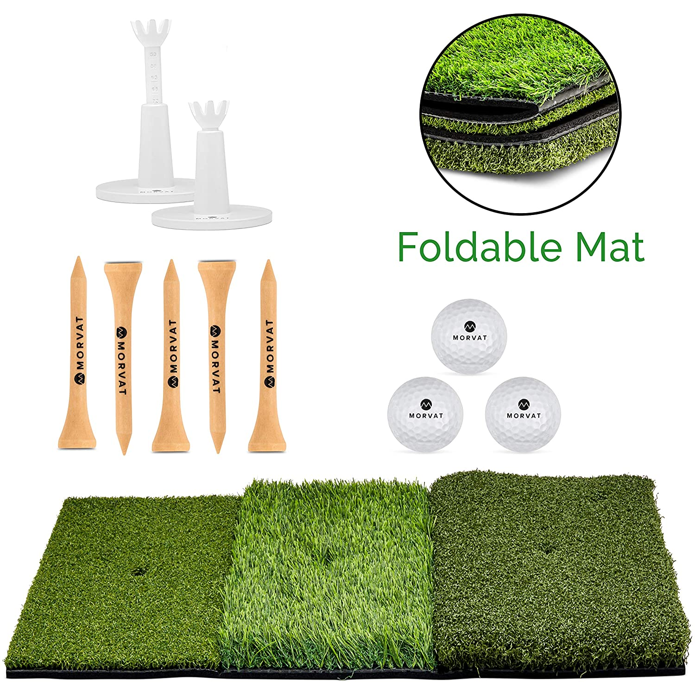 Morvat ゴルフアクセサリーセット パッティンググリーン ポータブル ゴルフ ヒッティングマット (25インチ x 16インチ) 調節可能なプラスチックゴルフティー (2) 木製ティー (5) ゴルフボール (3) ゴルフ練習用   B07HCM9N6W