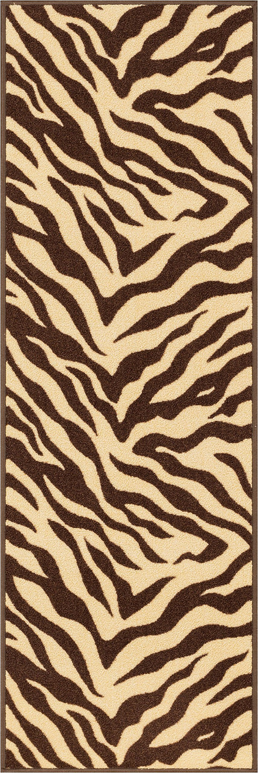 Well Woven 2501-2S Kings Court Zebra Modern Brown Animal Print 1'8'' x 5' Accent Indoor/Outdoor Runner Rug by Well Woven (Image #3)