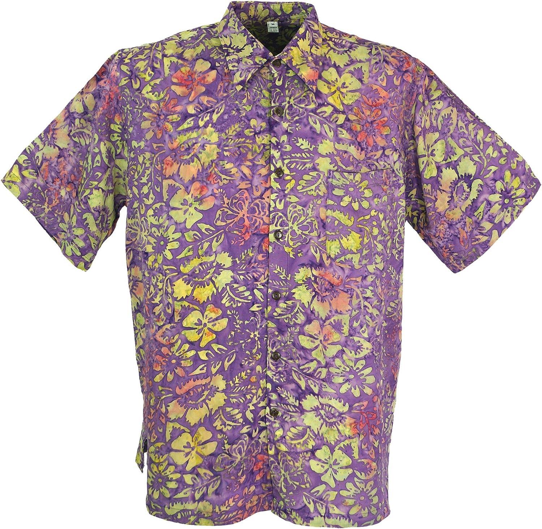 TALLA M. GURU-SHOP, Camisa Hippie, Camisa Hawaiana, Camisa Batik, Sintético, Camisas de Hombre