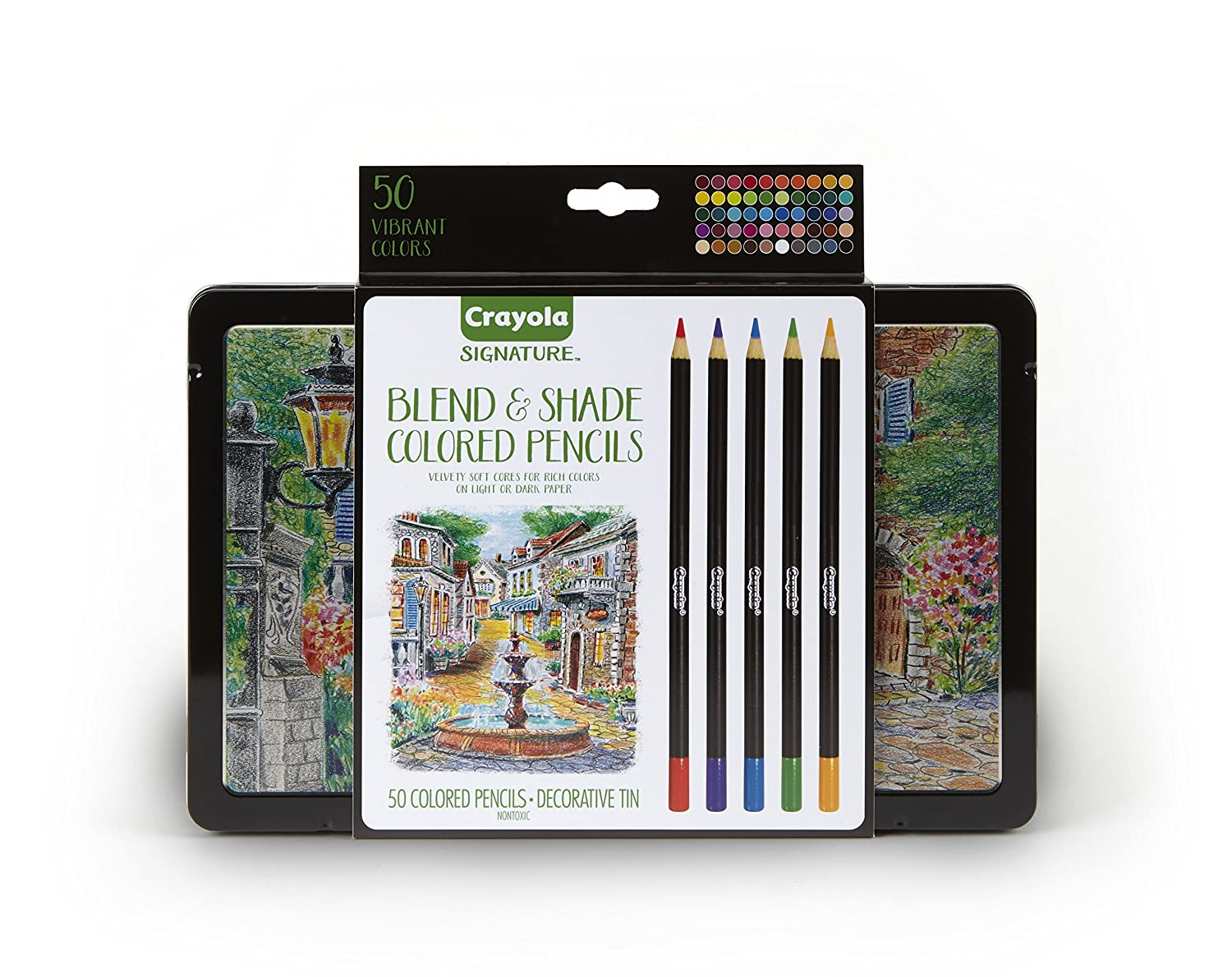 Crayola Blend /& Shade Colored Pencils in Decorative Tin Mothers Day Gifts for Mom 50 Count