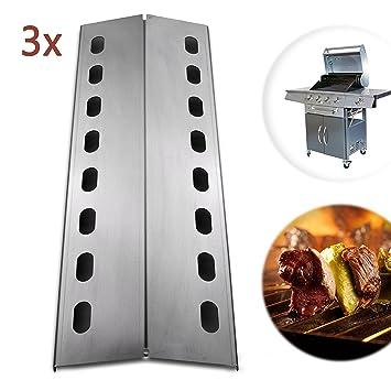 ADAMOA Llama Chapa de acero inoxidable para barbacoas de gas – 43,5 x 15