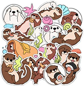 Lex Altern 33 PCS Sticker Pack for Laptop Waterproof Vinyl Foodie Adorable Sea Otters for Bicycle for Notebook Decals for Luggage Stickers for Planner Cute Sushi Set Kawaii for Kids for Water Bottles