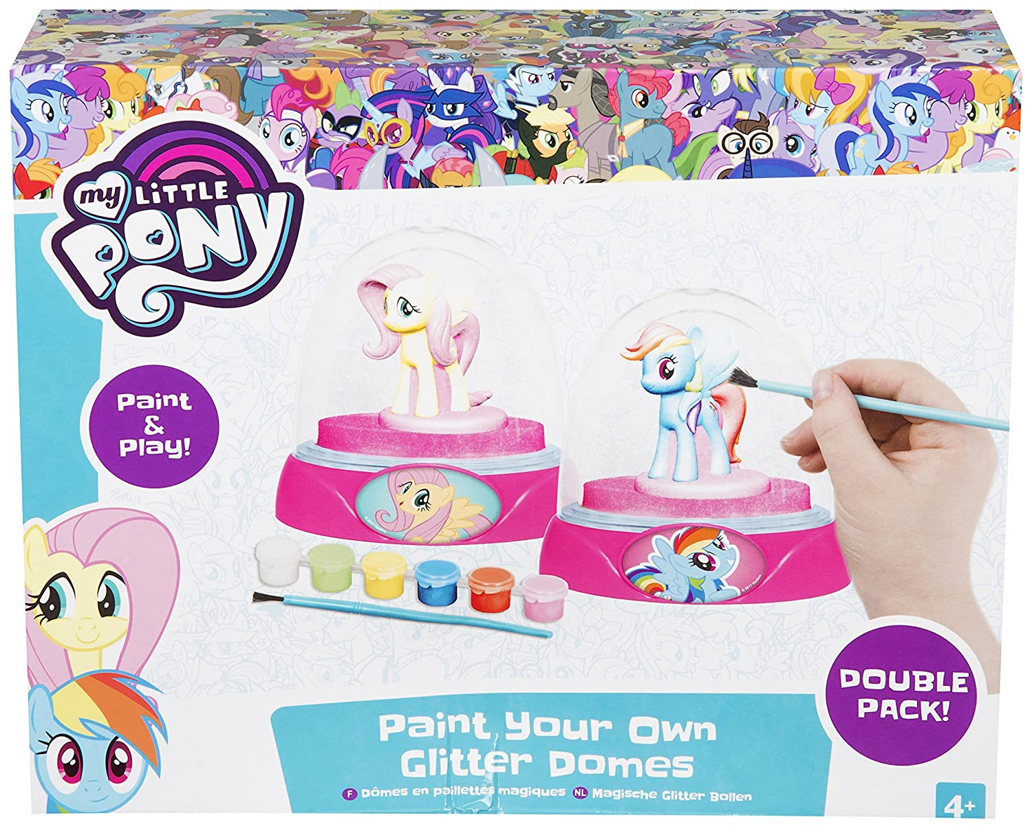 My Little Pony 2 Pack Paint Your Own Glitter Domes Children's Snow Globe Craft Set Sambro
