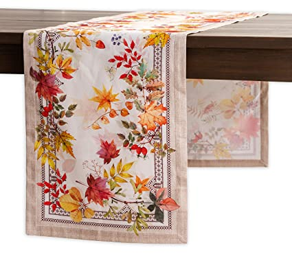 Maison d' Hermine Amarante 100% Cotton Table Runner - Single Layer 14.5 Inch by 108 Inch. Perfect for Thanksgiving and Christmas best thanksgiving table runners