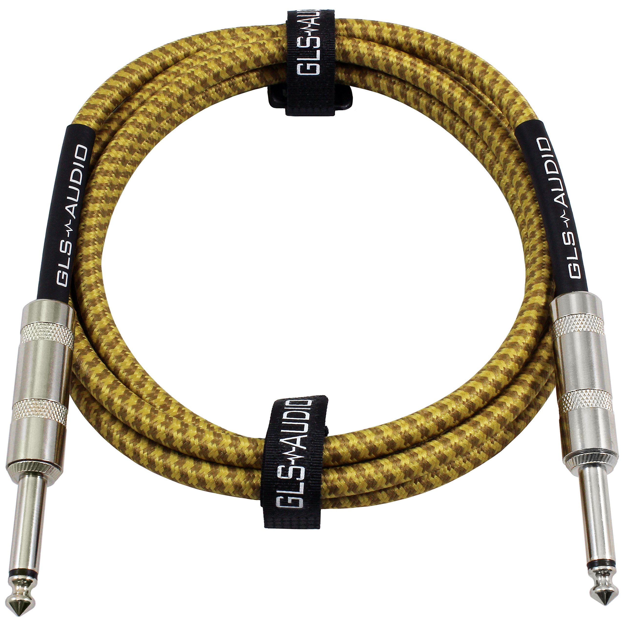 GLS Audio 6 Foot Guitar Instrument Cable - 1/4 Inch TS to 1/4 Inch TS 6-FT Brown Yellow Tweed Cloth Jacket - 6 Feet Pro Cord 6' Phono 6.3mm - SINGLE by GLS Audio