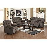 US Pride Furniture 3 Piece Light Brown Fabric Reclining Sofa, Chair & Loveseat Set