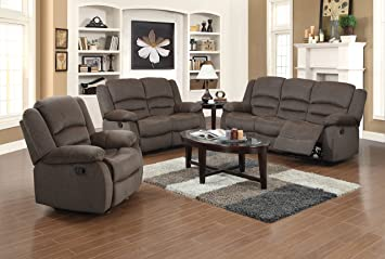 US Pride Furniture 3 Piece Light Brown Fabric Reclining Sofa, Chair U0026  Loveseat Set