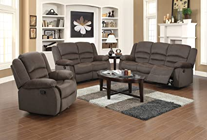 Amazon Com Us Pride Furniture 3 Piece Light Brown Fabric Reclining