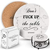 Coasters for Drinks | Absorbent Drink Coaster (6-Piece Set) | Housewarming Hostess Gifts for New Home, Man Cave House…