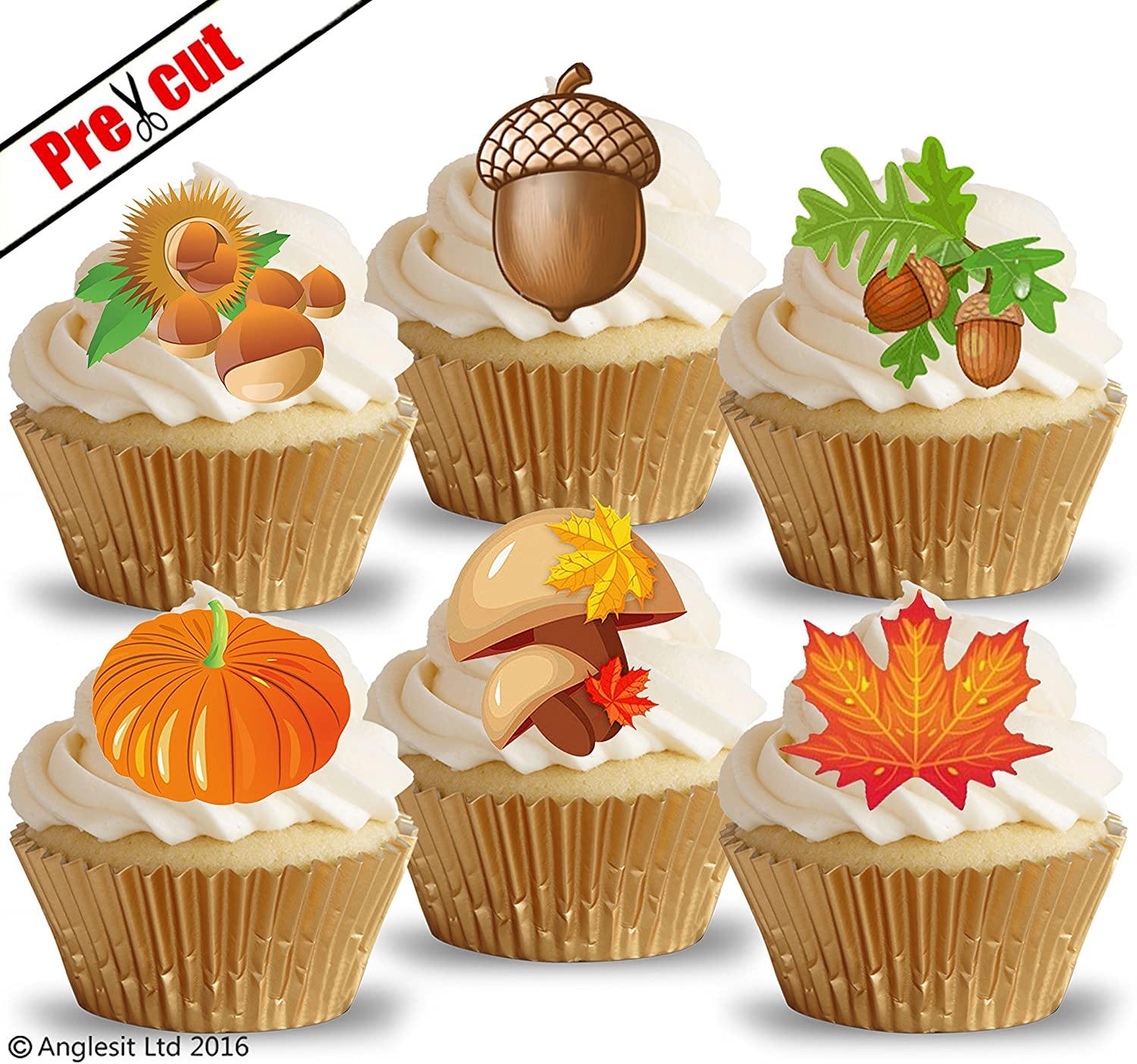 Remarkable Autumn Mix I Edible Rice Wafer Paper Cup Cake Toppers Wedding Funny Birthday Cards Online Unhofree Goldxyz