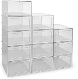 IPOW 12 Pack Thickened Clear Plastic Stackable Shoe Boxes, Foldable Shoe Organizer Sneaker Shoe Containers Shoe Storage Bins Drop Front Shoe Storage Boxes for Men, Women & Kids