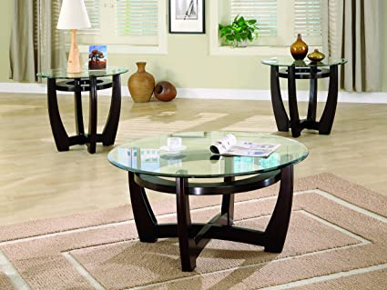 Merveilleux Coaster Contemporary Cappuccino Three Piece Round Occasional Table Set With  Glass Tops