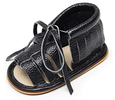Bebila Baby Girl Sandals Hard Soled Genuine Leather Infant Toddler Fringe Baby Boys Moccasins Shoes (