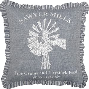 "VHC Brands Denim Blue Ninepatch Star Windmill Pillow 12"" x 12"" Small Pillow, Farmhouse, Cottage, Rustic"