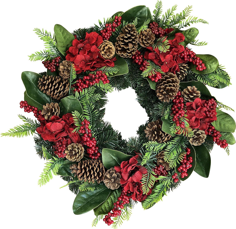 The Wreath Depot Arietta Winter Wreath, 22 Inches, Stunning Designer Quality Transforms Winter Decor, White Gift Box Included