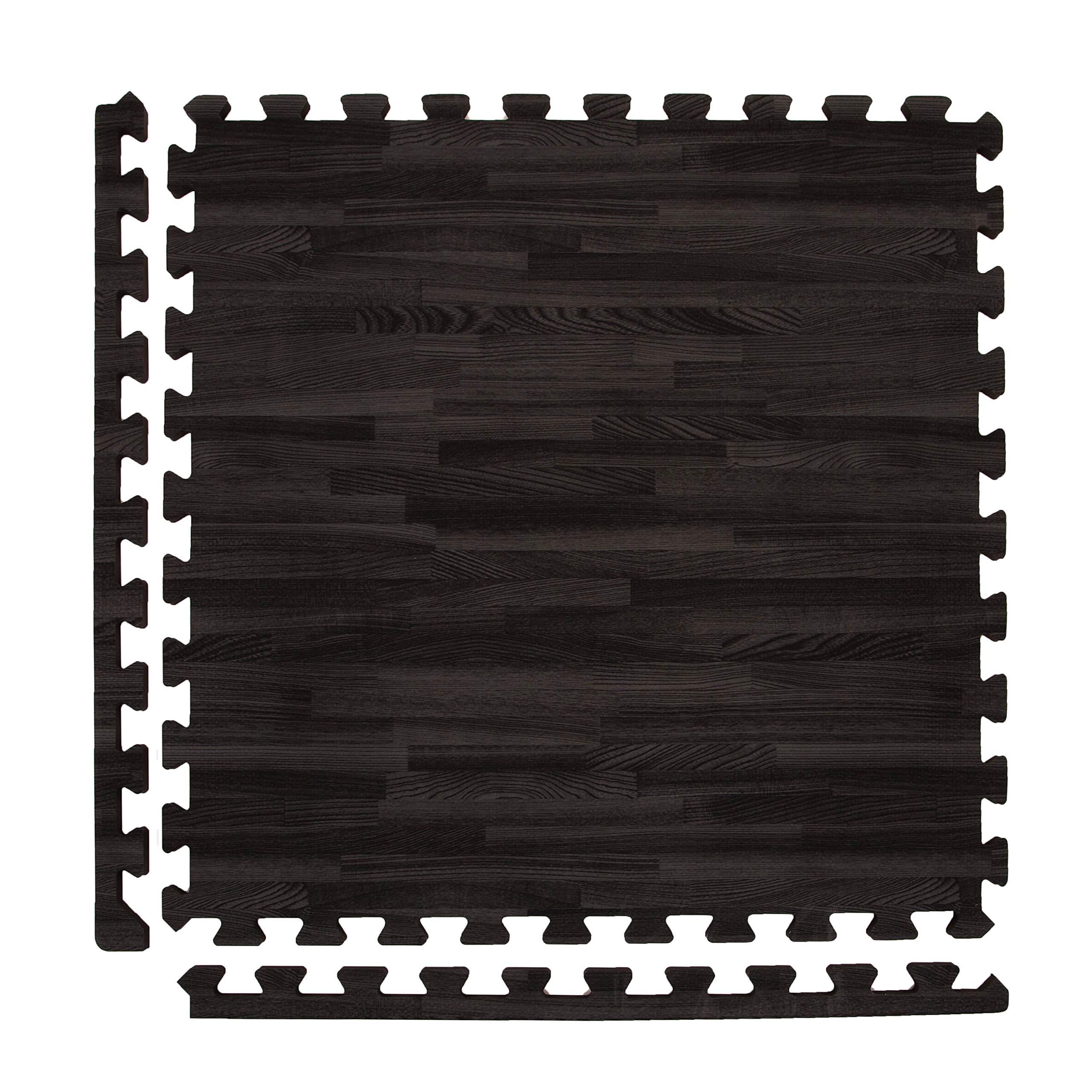 IncStores - Premium Soft Wood Interlocking Foam Tiles (Black, 6 Tiles) - Excellent for Trade Show Flooring, Exhibit Flooring, Display Flooring, Conventions, Living Areas, Play Rooms, Yoga and Pilates