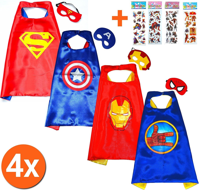 Flash Capa y máscara para niños superhéroe - Superhéroes niños niñas niños Fancy disfraz de fiesta hasta Capes para 2 A 11 Años - satinado doble capa - King ...