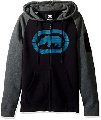 Ecko Unltd. Mens Speedy Rhinos Hoodie, Black/Charcoal Small