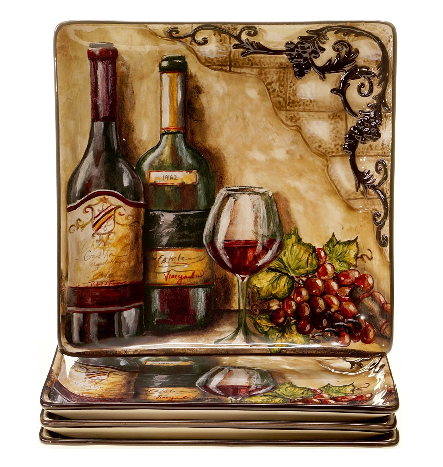 Certified International Tuscan View Dinner Plate, 10.75-Inch, Set of 4