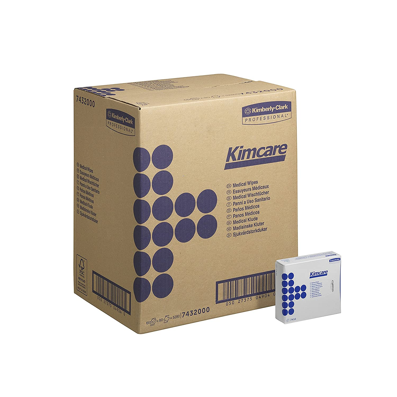 KIMCARE* Medical Wipes 7432 - 80 interfolded, white sheets per carton (pack contains 66 cartons) Kimberly Clark - Professional