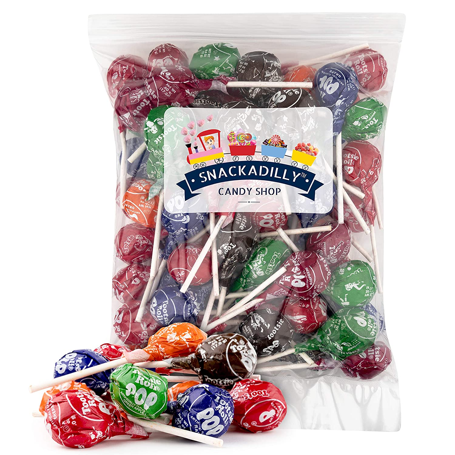 Tootsie Pops 2lbs. of Assorted Fruit Flavors - Original Five-Flavor Mix-Chocolate, Cherry, Orange, Grape and Raspberry. - Packed by Snackadilly