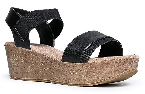 7288641f Nature Breeze - Sandalias de Vestir de Material Sintético para Mujer, Color  Negro, Talla