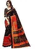 Glory Sarees Art Silk Saree With Blouse Piece (gloryart13_Red and Black_Free Size)
