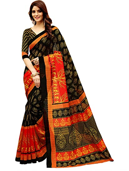f341de85c5c5c Glory Sarees Art Silk Saree with Blouse Piece (gloryart13 Red and  Black Free Size)  Amazon.in  Clothing   Accessories