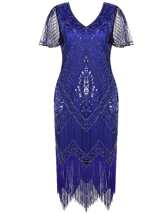 1920s Dresses UK | Flapper Dresses, Gatsby Dress PrettyGuide Womens 1920s Dress Sequin Art Deco Flapper Dress with Sleeve £39.99 AT vintagedancer.com