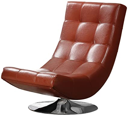 Furniture Of America Graham Leatherette Armless Swivel Chair; Mahogany Red