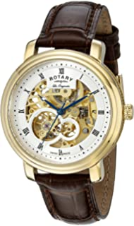 Rotary Mens gs90506/06 Analog Display Swiss Automatic Brown Watch