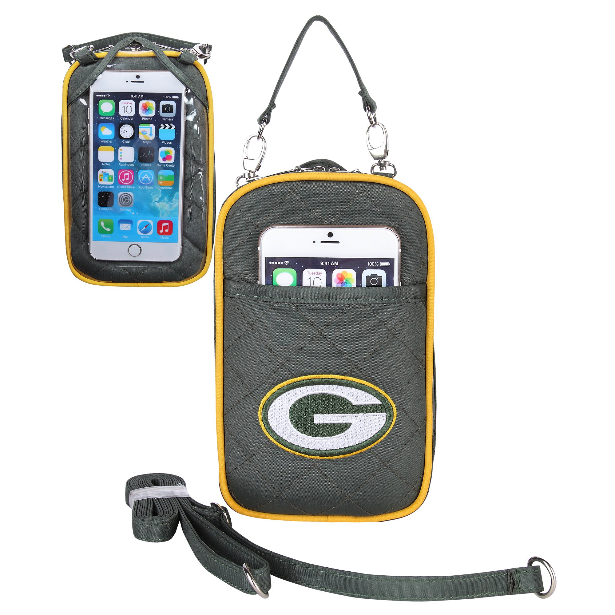 Charm14 NFL Green Bay Packers Women's Crossbody Bag Quilt-Embroidered Logo-Fits All Phones by Little Earth