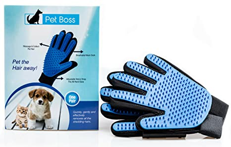 Pet Grooming Glove - Gentle Deshedding Brush Glove - Efficient Pet Hair Remover Mitt - Massage Tool with Enhanced Five Finger Design - Perfect for ...