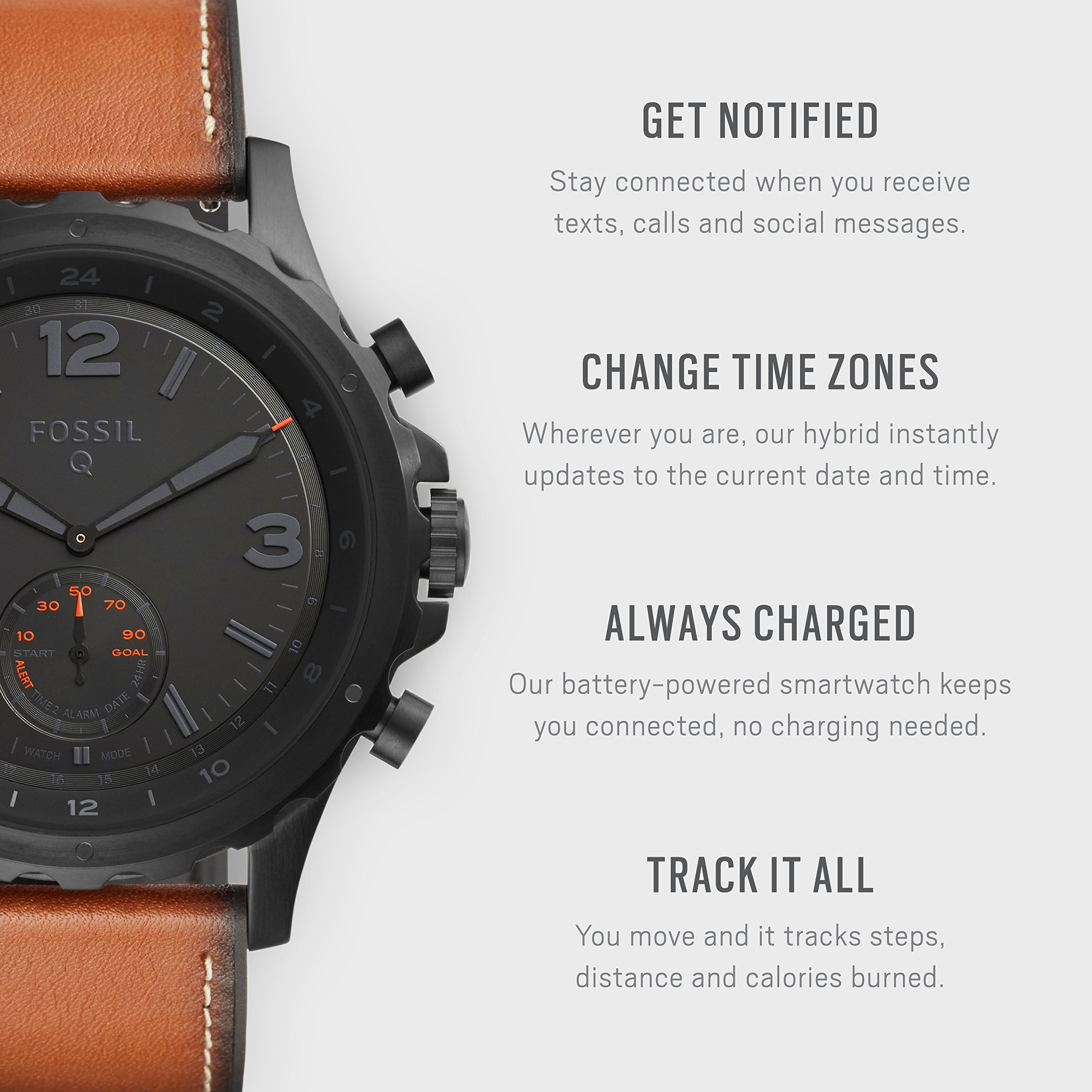 Fossil Hybrid Smartwatch - Q Nate Dark Brown Leather by Fossil (Image #2)