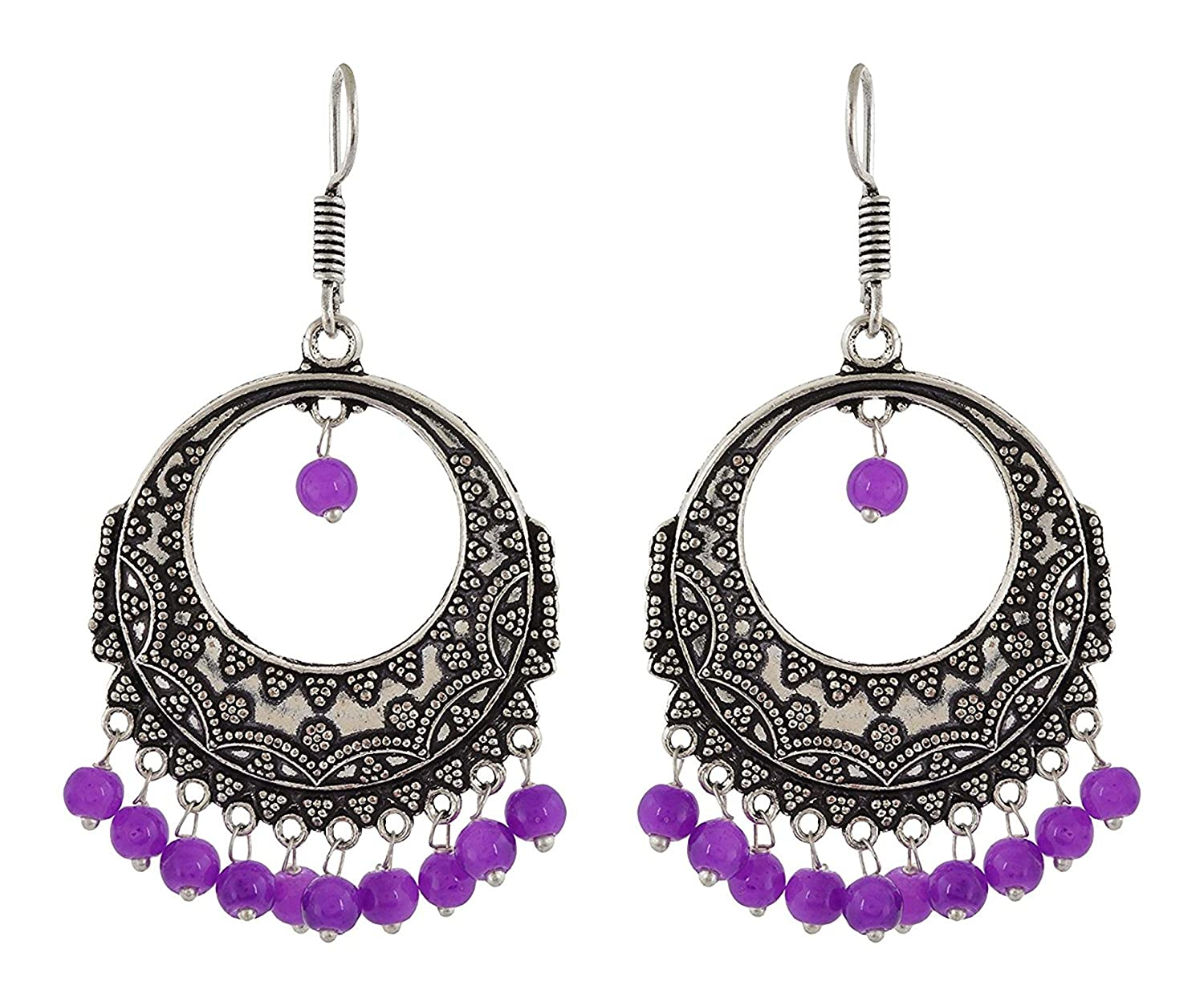 Subharpit Ethnic Purple Beads Oxidized Silver Traditional Indian Dangle /& Drop Earring for Woman /& Girls