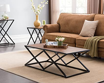 Vintage Brown / Black Frame Double X Sides Occasional Coffee Table 44u0026quot;W