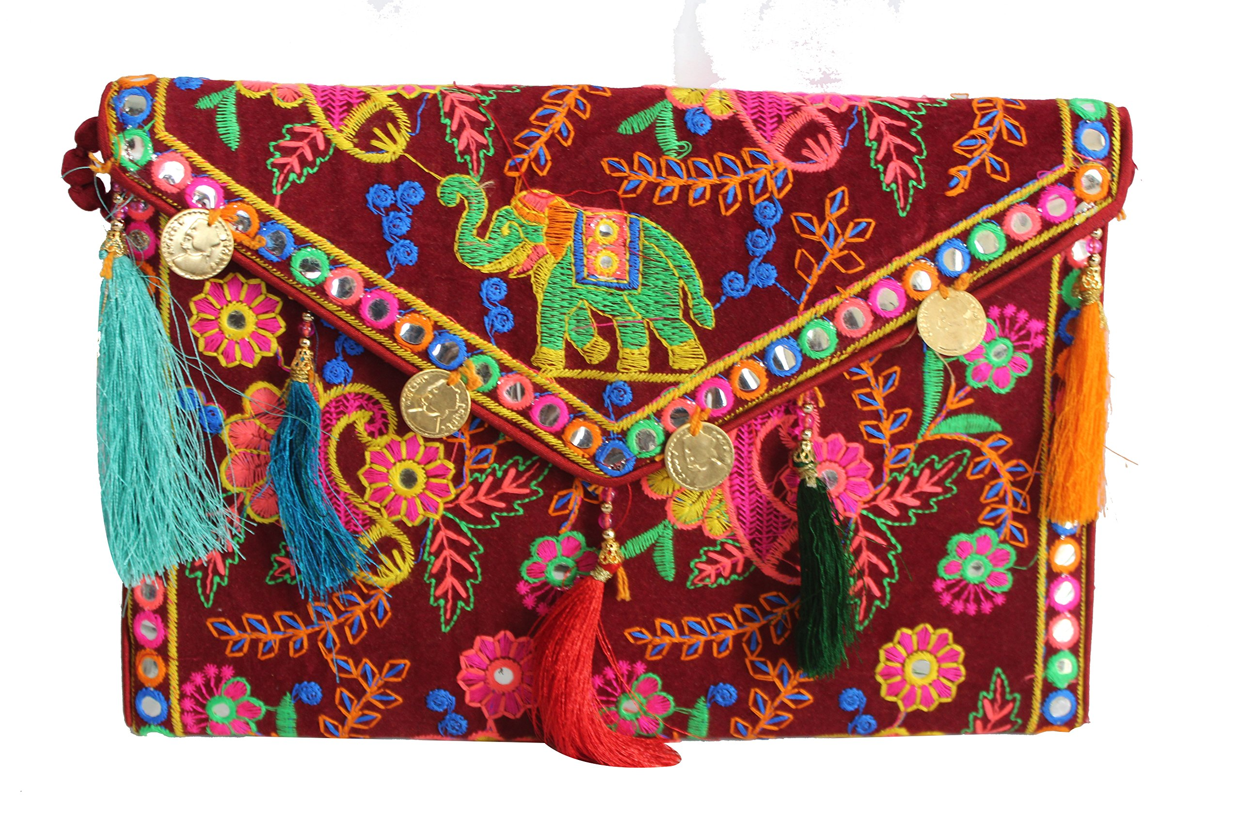 Hippie Handmade Clutch Purse for women Cotton Elephant Embroidery coin work Ethnic Vintage bohemian Tribal Banjara Maroon Sling Bags