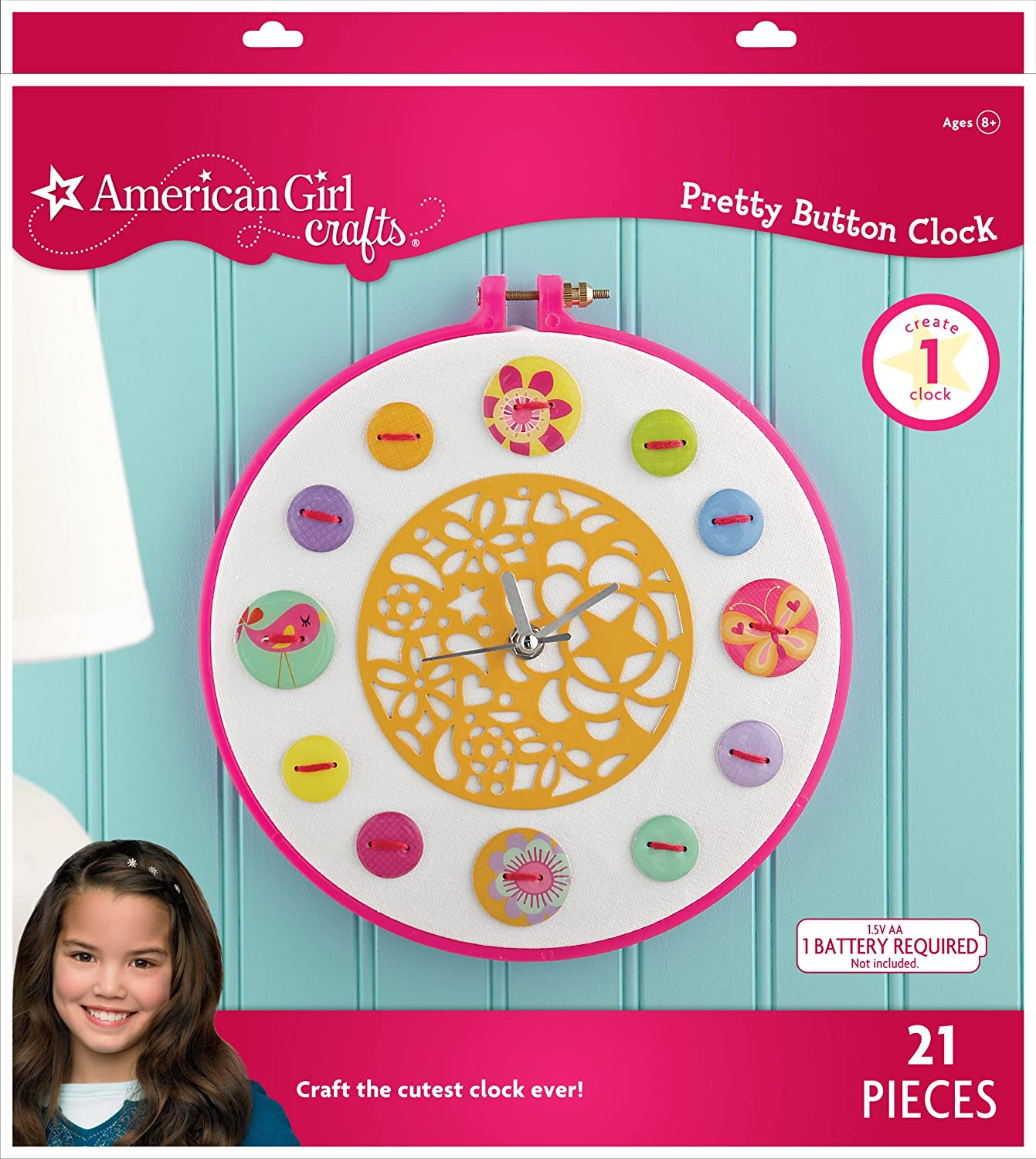 Amazon American Girl Crafts Button Clock Kit Arts Sewing