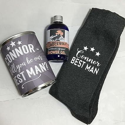 Personalizado Calcetines en una lata Will You por mi mejor hombre boda Set de regalo