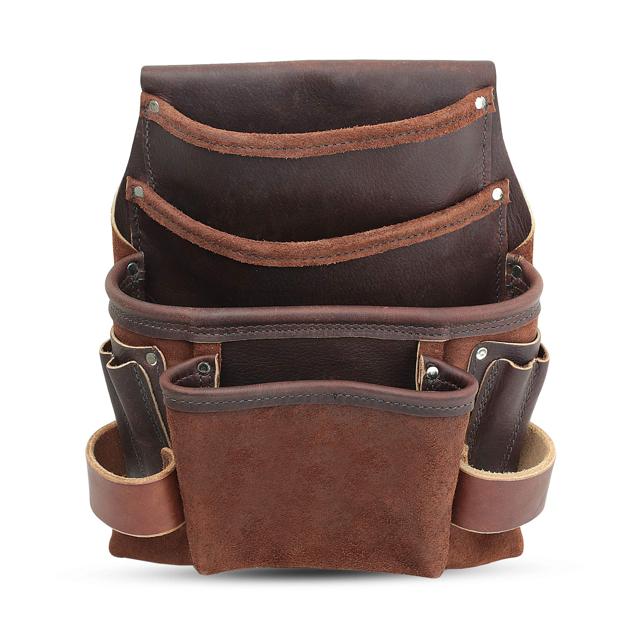 Heavy Duty Tool Pouch - All Leather - Reinforced Seams - Professional Grade (4 Pocket Framing Pouch) by Nemean Leather