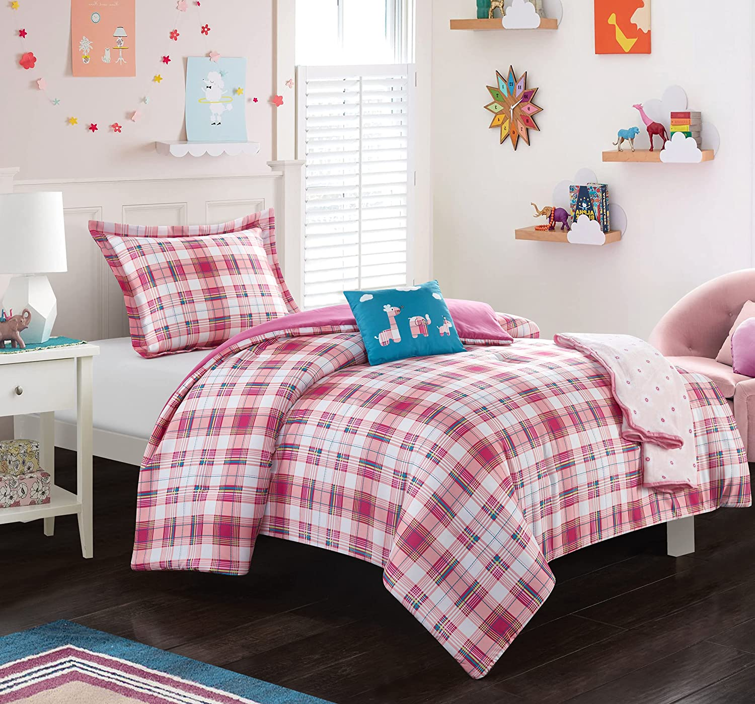 Chic Max 62% OFF Home Jenna 5 Piece Comforter New York Mall Patchwork A Stitched Set Plaid