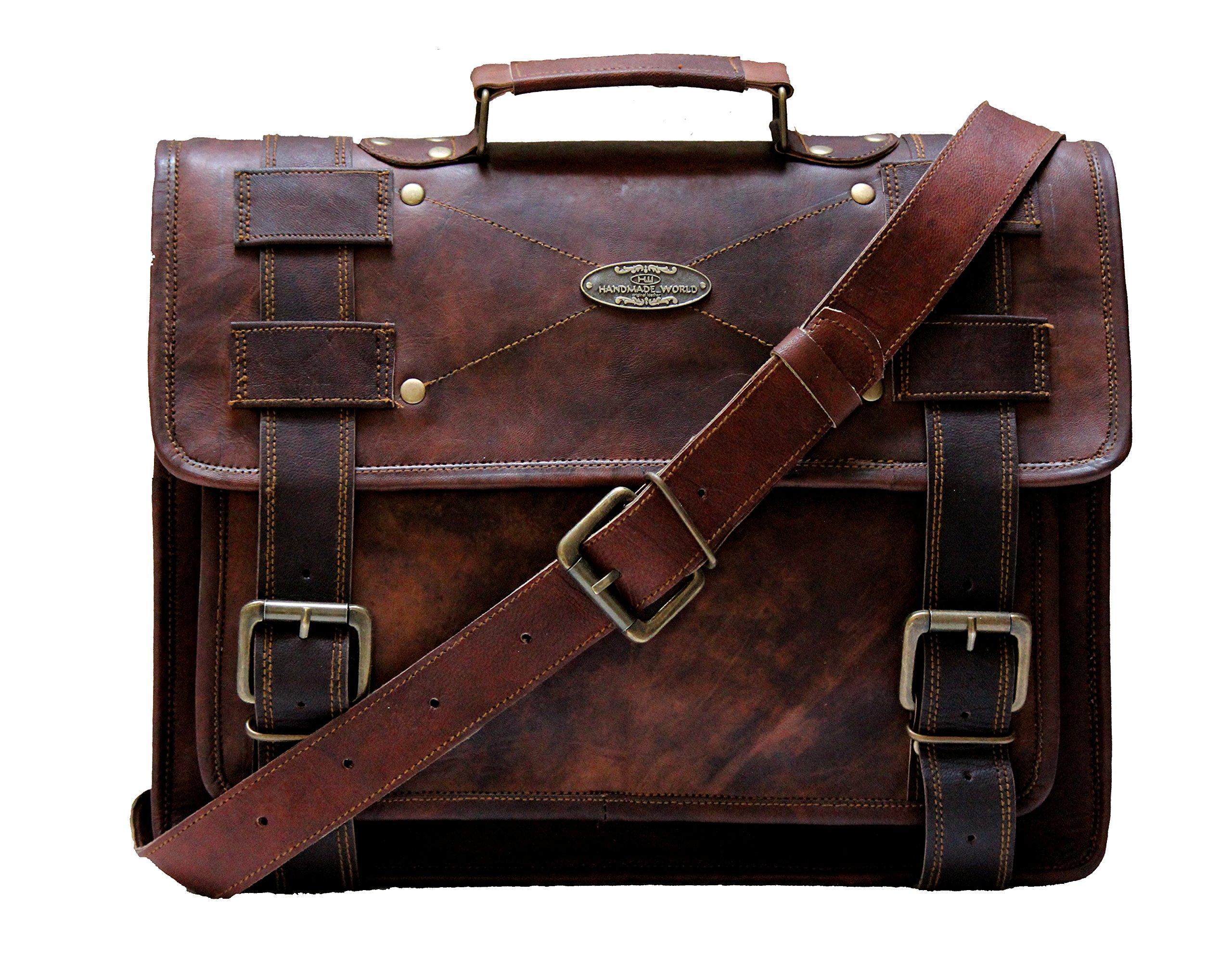 Handmade_World leather messenger bags 15'' for men women mens laptop computer bag best shoulder satchel school distressed briefcase unisex Cross body