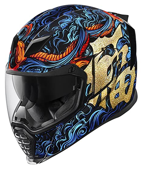 Casco de motocicleta Good Fortune de Icon, de color azul con dorado