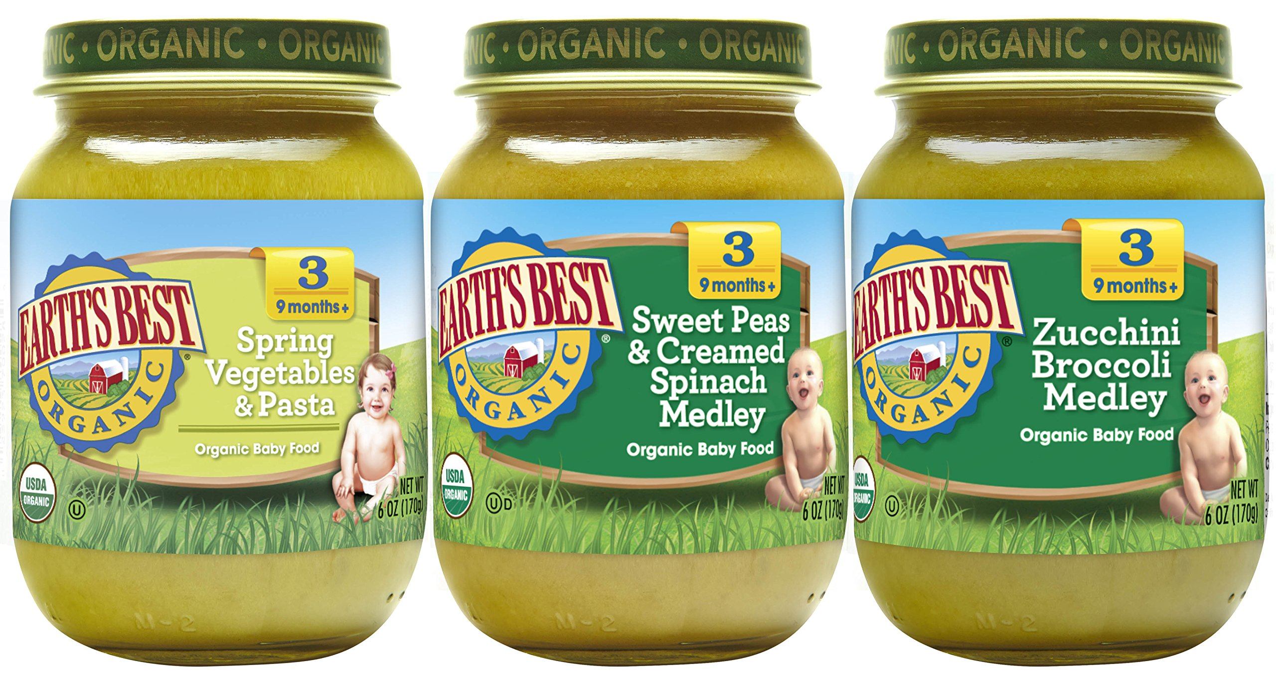 Earth's Best Organic Stage 3 Baby Food, Favorite Sides Variety Pack, 6 oz. (12 Count)