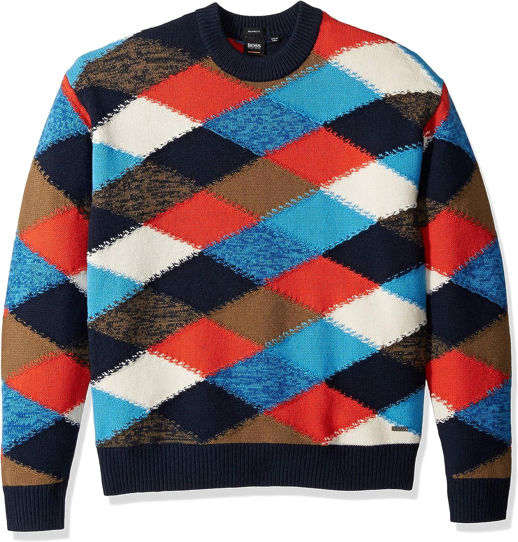 BOSS Orange Mens Kargyl Oversized Multicolor Argyle Intarsia Sweater