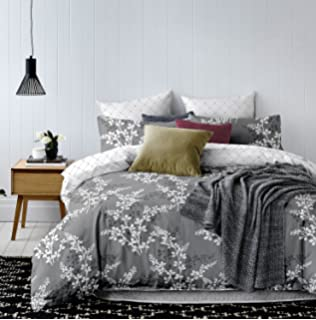 Bettwaren, -wäsche & Matratzen Bettwäsche Set Silbergrau Biesen Baumwollmischung Doppel 4-tlg Bettwäsche