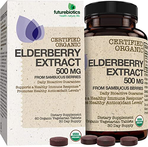 Futurebiotics Elderberry Extract 500 mg USDA Certified Organic from Sambucus Berries, 60 Vegetarian Tablets