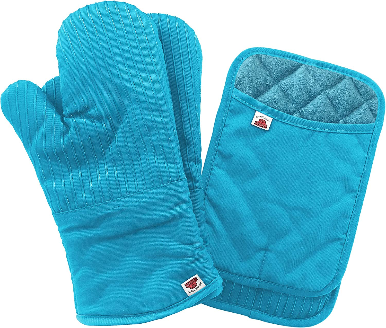 Big Red House Oven Mitts and Pot Holders Sets, with The Heat Resistance of Silicone and Flexibility of Cotton, Recycled Cotton Infill, Terrycloth Lining, 480 F Heat Resistant Pair Turquoise