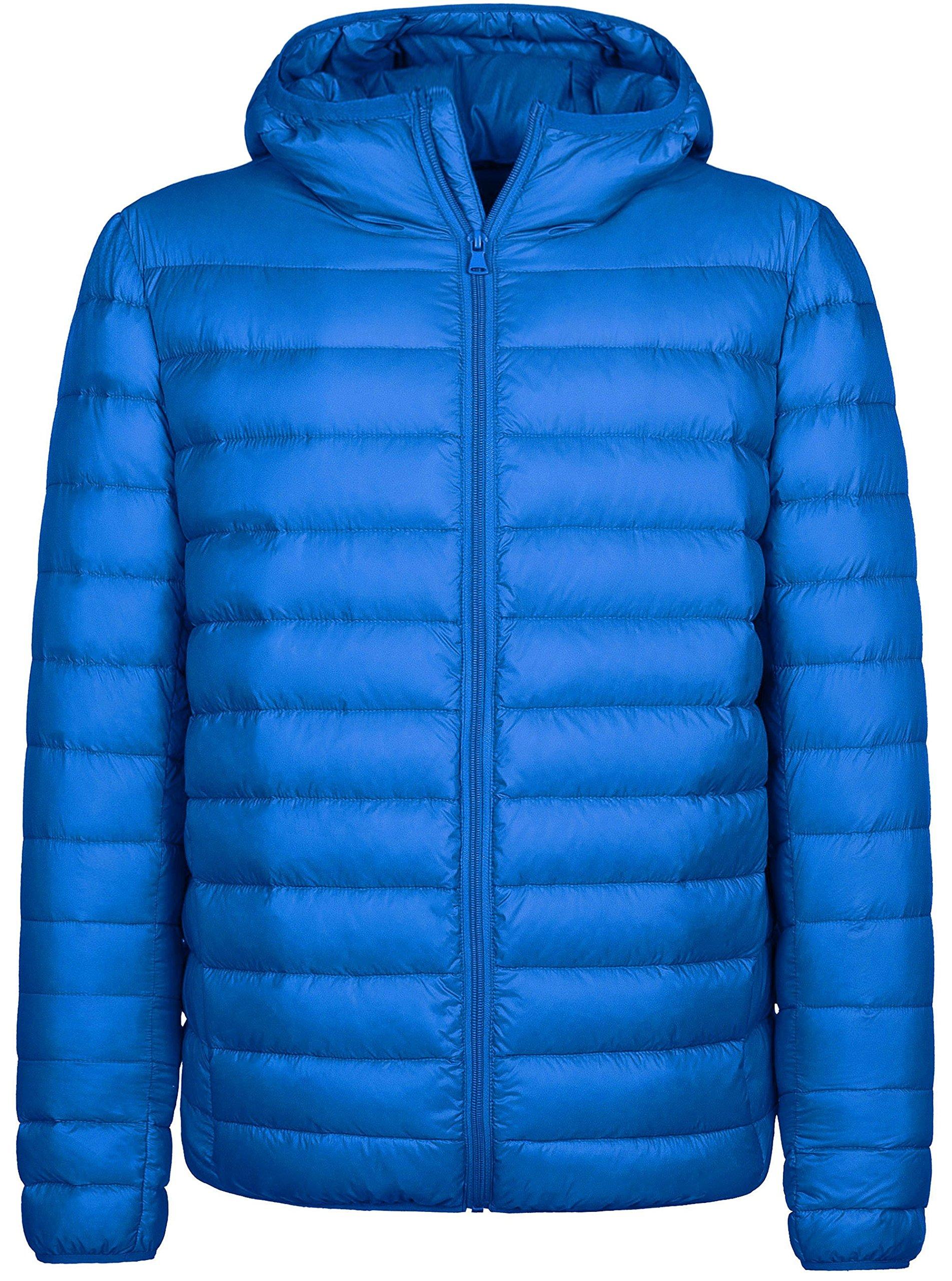 Wantdo Men's Hooded Packable Light Weight Down Jacket Small Sapphire Blue