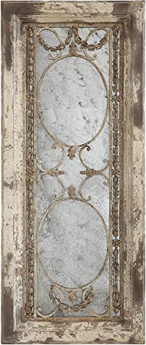 Creative Co-Op Rectangle Pine Wood Framed Antiqued Mirror, Grey